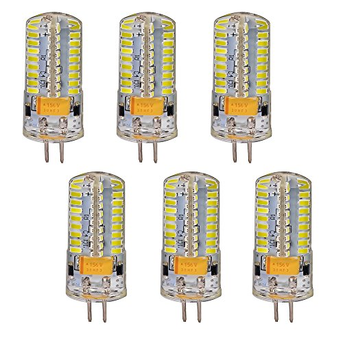Mudder® 6Pcs Set G4 5W 72-Led White Light Crystal Bulb Lamps Ac Dc 12-24V Non-Dimmable Equivalent To 40W Incandescent Bulb Replacement Led Bulbs