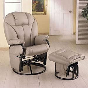 Bone Leatherette Glider Rocker Recliner Chair with Ottoman