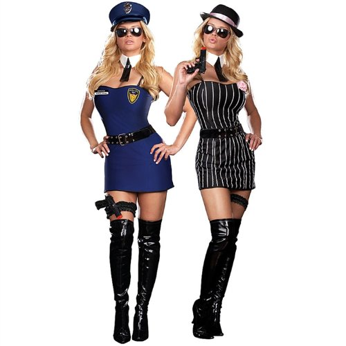 Sexy Reversible Cop / Gangster Costume - 10 Piece