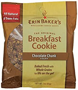 Erin Baker's Breakfast Cookie Chocolate Chunk, Vegan, 3-Ounce Individually Wrapped Cookies (Pack of 12)