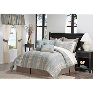 Victoria Classics Cotton Stripe 24-Piece Comforter Set, Blue