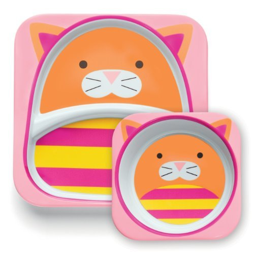 Skip Hop Zoo Melamine Dinner Set, Cat Color: Cat NewBorn, Kid, Child, Childern, Infant, Baby - 1