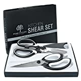 Professional Kitchen Shears (2-Piece Set) Heavy-Duty Scissors | Ultra-Sharp Blades, Ergonomic Grip | Multifunctional Use | Perfect For Cutting Poultry, Chicken, Vegetables, Meat, Fish, Herbs