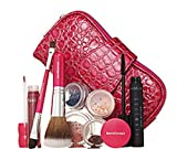 BareMinerals - Bare Escentuals Happiness Set - Set Includes: 1x Pink Snake Skin Cosmetic Bag, 1x Pink Shadow Brush, 1x Pink Feather Light Brush, 1x Flawless Definition Mascara (10mL), 1x 100% Natural Lipgloss in Berry Rush (4.2mL), 1x