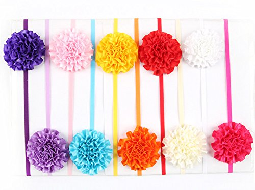 Qandsweet Baby Girl's New Arrival Mini Flowers Boutique Headbands (10 Pack)
