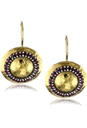 "Stella Flame ""Byzantia"" 24K Ruby Disc Earrings"