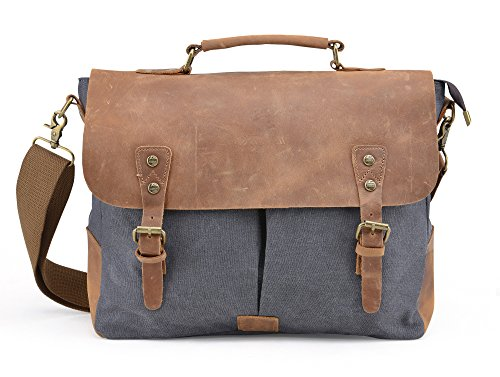 Gootium Vintage Canvas Messenger Bag 15.6 Inch Laptop Shoulder Bag, Grey (Messenger Bag Custom compare prices)