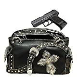 Black Western Buckle & Cross Conceal and Carry Purse