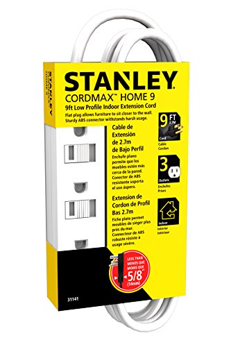 Stanley 31141 Cordmax Home 9 Grounded Low Profile 3-Outlet Indoor Extension Cord, 9Ft White, (Low Profile Grounded compare prices)