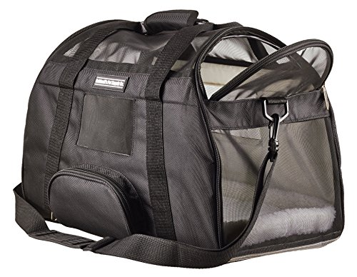 Caldwell's Pets Supply Co. Deluxe Soft-sided Airline Approved Airport Pet Carrier Travel Bag – Under Seat Carry-on for Cats and Small Dogs (Black)