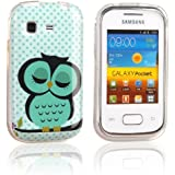 tinxi® Süß Design Silikon Schutzhülle für Samsung Galaxy Pocket S5300 Hülle TPU Silikon Rückschale Schutz Hülle Silicon Case mit Eule Owl Muster in Hellgrün