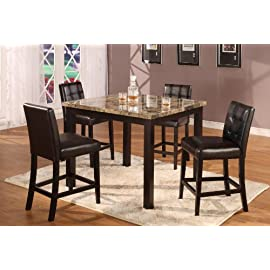 5pc Dark Artificial Marble Top Counter Height Dinette Dinning Set , Table & 4 Chairs