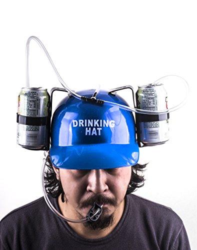 Blue Beer Cap - Drinking Head Gear - Soda Helmet front-13064