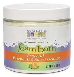 Aura Cacia Aromatherapy Foam Bath, Peaceful Patchouli and Sweet Orange, 14 ounce jar (Pack of 2)