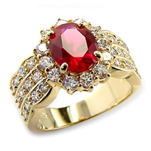 Eternal Sparkles Gold Plated Ruby CZ Ring Size-8