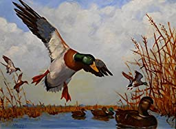 Hand Painted Duck Hunting Oil Painting on Canvas for Wall Decor