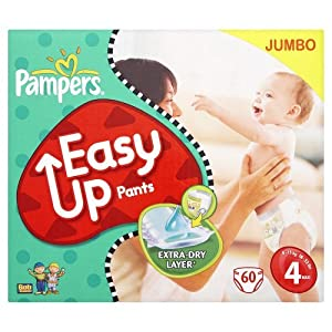 Pampers Easy Up Size 4 (18-33 Lbs/8-15 Kg) Training Pants - 2 X Jumbo Packs Of 60 (120 Training Pants)