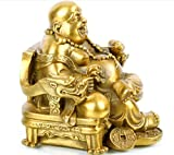 Brass Buddha Statue -- Happy Laughing Sitting Buddha Inspirational Religious Simle Statue For Gifts & Decor --BBS053 (7.5cm high)