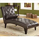 Monarch Specialties Leather-Look Chaise Lounger, Dark Brown