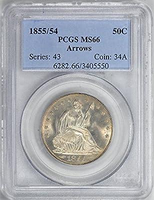 1855 Liberty Seated Half Dollars Half Dollar MS66 PCGS