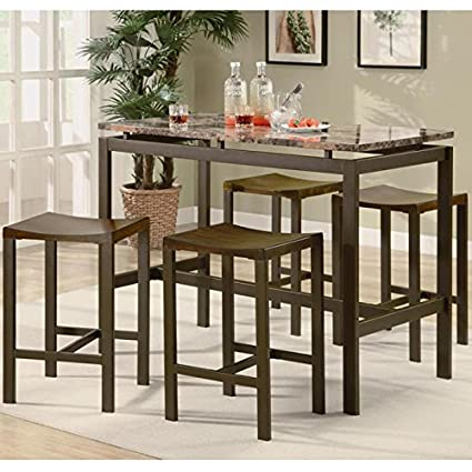 Coaster Home Furnishings Casual Dining Room 5 Piece Set, Brown