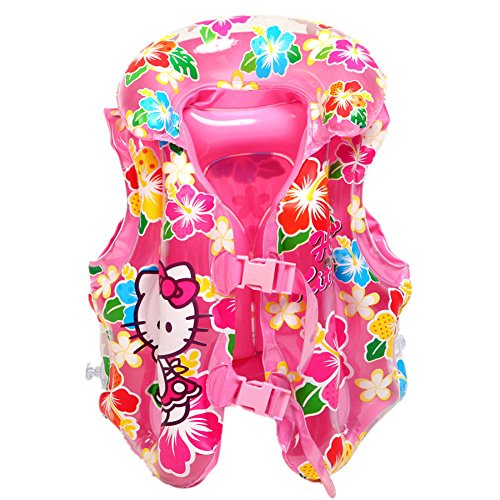 Cute Baby Kid Toddler Child Children Infant Boy Girl Inflatable Float Pool Beach Life Jacket Swim Wear Vest Swimming Safety Aid Training Suit (Hello Kitty, L)