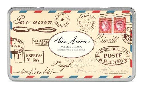 Cavallini & Co. Par Avion Designed Stamps Set Includes Wooden Rubber Stamps - Assorted/ Ink Pad - Black