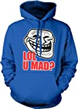 Trollface LOL U Mad? Hooded Sweatshirt, Funny Trolling Troll Trollface U Mad? Design Hoodie (Royal Blue, Large)