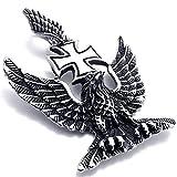 MFYS Jewelry ファッション メンズ ドイツ 第三帝国 鷹 アイアンクロス ステンレス ネックレス カラー:シルバー(銀) (チェーン付ペンダントトップ) ペンダント ネックレス [ギフトボックスを提供]