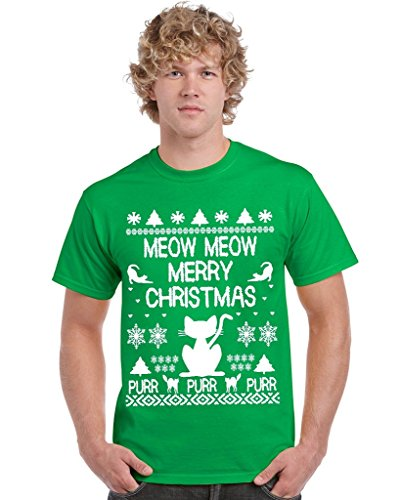 P&B Ugly Christmas Meow Cat Men's T-shirt, L, Green