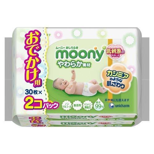 moony-oshirifuki-yawaraka-material-30sheets-2packs-baby-travel-wipes-by-unicharm