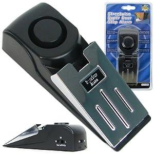 Portable Super Door Stop Alarm, Pack of 1, Black