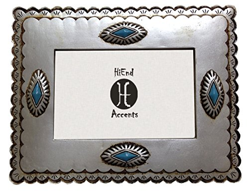HiEnd Accents Silver Frame with Diamond-shaped Turquoise Conchos, 4 by 6-Inch