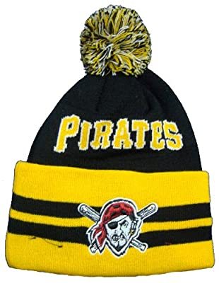 Pittsburgh Pirates Wide Point Cuffed Pom Knit Cap / Beanie