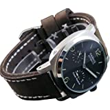 44mm Bow Glass Fanmis Black Dial Power Reserve Mens Automatic Watch Brown Cow Leather Strap