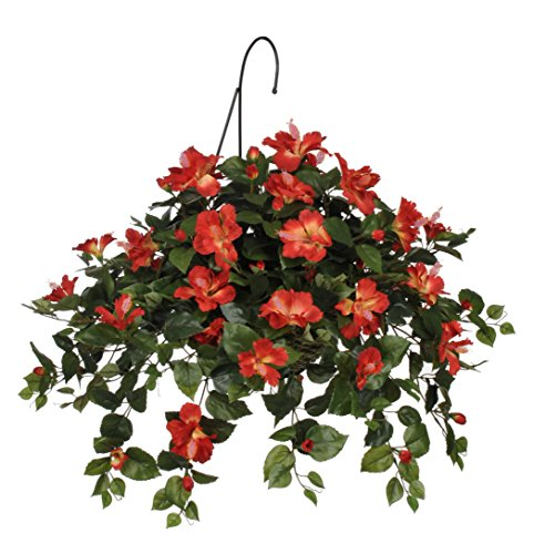 Artificial Hibiscus Hanging Basket, Tomato Red