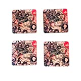 The Crazy Me - FlashBack Vintage Stamps Print Coaster Set