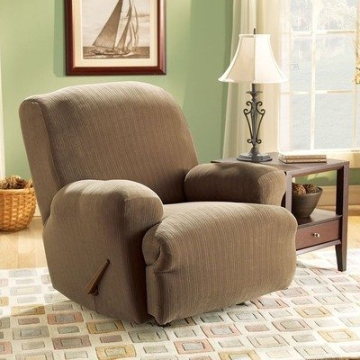 Sure Fit Stretch Pinstripe Recliner Slipcover, Taupe front-877732