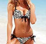 Aokin 2pcs Sexy Ladies Women Push up Padded Bikini Trikini Swimwear Swimsuit (Zebra, L)