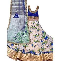 Cozer Women's Net Dress Material (bhagalpurinetfloralblue3_Ceam , Blue)