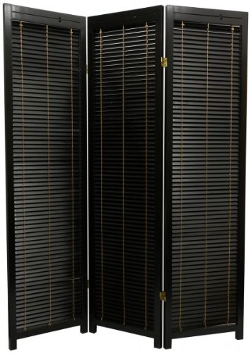 Wooden Shutter Room Divider in Black Number of Panels: 3