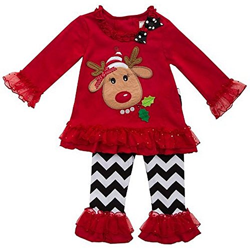 Rare Editions Reindeer Ruffle Tee & Pants Set 4-6 years