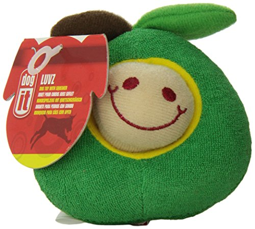 Dogit Plush Worm, Green Apple Fruity Toy
