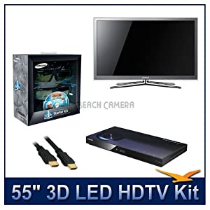 "Samsung UN55C8000 55"" 1080p 3D LED TV, 1080p Resolution, 3D Technology, 3D HyperReal Picture Engine, Touch of Color Design, Kit Includes 2 Pairs of 3D Glasses, BD-C5900 1080p 3D Blu-ray DVD Player, 3 Xtreme 3D 1.4v HDMI Cab"