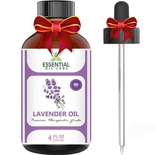 Essential Oil Labs Natural Therapeutic Grade Lavender Oil with Glass Dropper, 4 Ounce Bottle (Essential Oils Sale compare prices)