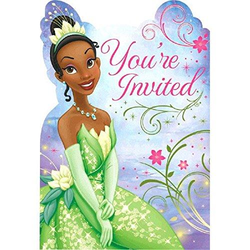 Amscan Dazzling Disney Tiana Enchanted Birthday Party Invitation Card Supply (8 Pack), 8