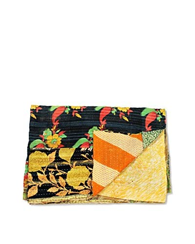 Mélange Home One-of-a-Kind Kantha Throw from Vintage Saris, Multi