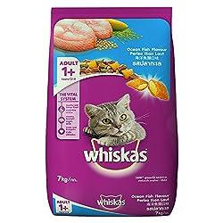 Whiskas Adult Cat Food Pocket Ocean Fish, 7 kg Pack And get 1 kg free