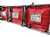 Officek 24V 3連 角型 クリスタル 赤白 LEDテール 左右セット 3連テール