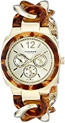 Akribos XXIV Women's AK641YG Ultimate Multi-Function Gold-Tone and Tortoise Pillow-Cut Twist Chain Bracelet Watch